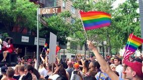 New York Pride Parade Gay Street stock video footage