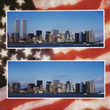 New York - prima & dopo 9/11 - bandierina Immagine Stock
