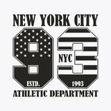 New York print with number in USA flag style. Design clothes, stamp for t-shirt, athletic apparel graphic. Vector. New York print with number in USA flag style Royalty Free Illustration