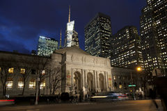 New York Public Library in the dusk, Manhattan, New York Stock Images