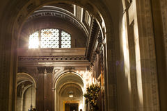 New York Public Library Hallway. Sun blazes through an arched window into the upstairs atrium at the New York Public Library Stock Photo