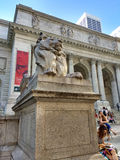 New York Public Library Main Branch, Stephen A. Schwarzman Building, Library Lion Patience, New York City, NY, USA Stock Photos