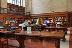 New York Public Library. The main branch of the New York Public Library on 5th Avenue has a magnificently ornate set of reading rooms royalty free stock photos