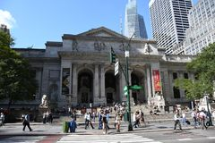 New York Public Library. On 5th Avenue and 42nd Street street in New York City. It is the 2nd largest public library in US and managed with both private and royalty free stock photo