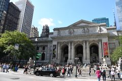 New York Public Library. On 5th Avenue and 42nd Street street in New York City. It is the 2nd largest public library in US and managed with both private and royalty free stock image