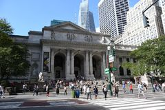 New York Public Library. On 5th Avenue and 42nd Street street in New York City. It is the 2nd largest public library in US and managed with both private and stock photo