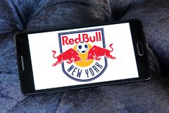 New York Red Bulls Soccer Club logo. Logo of New York Red Bulls Soccer Club on samsung mobile. New York Red Bulls are an American professional soccer club Royalty Free Stock Images