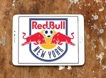 New York Red Bulls Soccer Club logo. Logo of New York Red Bulls Soccer Club on samsung tablet. New York Red Bulls are an American professional soccer club Stock Images
