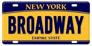 New York registreringsskylt stora Apple Broadway arkivbild