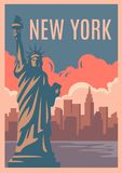 New York Retro Poster. Royalty Free Stock Images