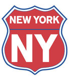 New York Road Shield. Road shield with colors of local sports team Stock Photos
