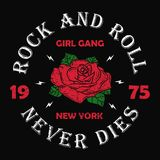 New York rock and roll girl gang - grunge typography for t-shirt, women clothes. Fashion print for apparel with rose and slogan. Royalty Free Stock Photo