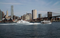 New Yorks Busy East River USA Stock Photography