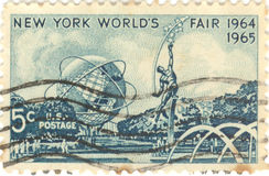 New York's World Fair Stamp. USA New York's World Fair stamp, 1964-1965.  Five cent stamp Royalty Free Stock Photo