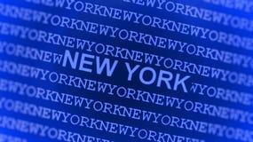 New York schrieb auf blauem Bildschirm Stockbild