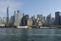 New York. with sea view. Beautiful big city in the world. Really liked the view from the sea. Huge building Royalty Free Stock Photo