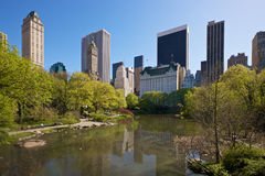 New York seen from Central Park. New York skyline, seen from Central Park Stock Photos