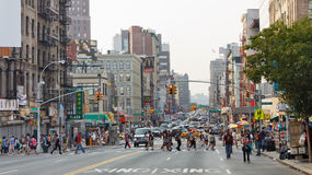 New York City Street Scenery. NEW YORK - SEP 3: Busy intersection at Canal and Center Street on September 3, 2011 in Manhattan, New York. New York is the United royalty free stock image