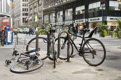 New York Bicyles Street Scene Royalty Free Stock Photo