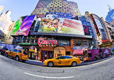 New York. SEPT 22: Times Square and 42nd Street is a busy tourist intersection of neon art and commerce and is an iconic street of  City and America Royalty Free Stock Images