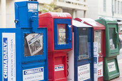 NEW YORK - September 27, 2013: Typical American Newsboxes at One. Of the Streets of New York on September 27, 2013. Editorial Caption. Horizontal Image royalty free stock photo