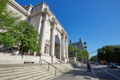 American Museum of Natural History building in New York. NEW YORK - SEPTEMBER 13: American Museum of Natural History building facade with sidewalk and street in Stock Photos