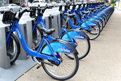 NEW YORK -  SEPTEMBER 02: Citi Bike docking station on September. 02, 2013 in New York. Citi Bike is a privately owned for-profit public bicycle sharing system Royalty Free Stock Images