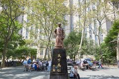 Columbus Park with people playing Chinese Chess in New York Royalty Free Stock Photo