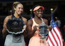 Finalist Madison Keys L  and US Open 2017 champion Sloane Stephens during trophy presentation after women`s final match Stock Image