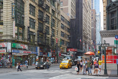 Koreatown street with people and signs in New York Stock Photos