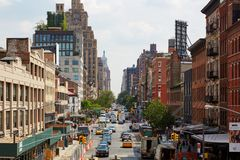 Meatpacking district street elevated view in New York. NEW YORK - SEPTEMBER 9: Meatpacking district street elevated view with typical brick wall buildings on royalty free stock images