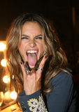 NEW YORK - SEPTEMBER 09: Model Alessandra Ambrosio poses backstage Stock Images