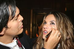 NEW YORK - SEPTEMBER 09: Model Alessandra mbrosio getting ready with makeup backstage Stock Images