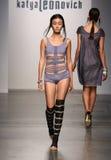NEW YORK - SEPTEMBER 06: A Model walks runway for Katya Leonovich Spring Summer 2015 fashion show Royalty Free Stock Photography