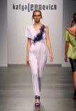 NEW YORK - SEPTEMBER 06: A Model walks runway for Katya Leonovich Spring Summer 2015 fashion show Stock Image