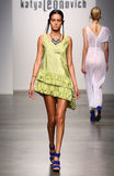 NEW YORK - SEPTEMBER 06: A Model walks runway for Katya Leonovich Spring Summer 2015 fashion show Royalty Free Stock Image