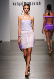 NEW YORK - SEPTEMBER 06: A Model walks runway for Katya Leonovich Spring Summer 2015 fashion show Stock Photography