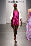 NEW YORK - SEPTEMBER 06: A Model walks runway for Katya Leonovich Spring Summer 2015 fashion show Stock Photos