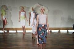 NEW YORK - SEPTEMBER 03: A model walks runway for Victor de Souza Spring Summer 2015 presentation Stock Images