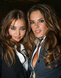NEW YORK - SEPTEMBER 09: Models  Miranda Kerr (L) and Alessandra Ambrosio (R) poses backstage in Cipriani restaurant Royalty Free Stock Photography