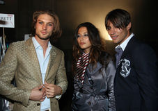 NEW YORK - SEPTEMBER 09: Models poses backstage Stock Photos