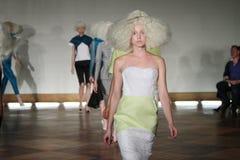 NEW YORK - SEPTEMBER 03: Models walk runway finale for Victor de Souza Spring Summer 2015 presentation Royalty Free Stock Images