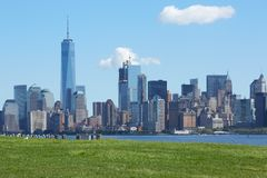 NEW YORK - 12. SEPTEMBER: New- York Cityskyline mit Freiheit towe Stockfoto