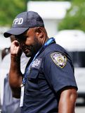 NYPD counter terrorism police officer provides security at National Tennis Center during 2018 US Open in New York stock photos