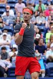 Professional tennis player Alexander Zverev of Germany in action during his 2018 US Open round of 32 match royalty free stock photography