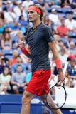 Professional tennis player Alexander Zverev of Germany in action during his 2018 US Open round of 32 match royalty free stock photo