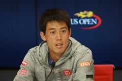 NEW YORK - SEPTEMBER 1, 2016: Professional tennis player Kei Nishikori of Japan during press conference after match at US Open2016 Royalty Free Stock Image