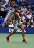 Professional tennis player Madison Keys of United States in action during her US Open 2017 final match. NEW YORK - SEPTEMBER 9, 2017: Professional tennis player Stock Images