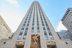 Rockefeller Center building, blue sky in New York. NEW YORK - SEPTEMBER 12: Rockefeller Center building, blue sky on September 12th, 2016 in New York Stock Photography