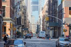 Soho street with cast iron buildings in the morning in New York Royalty Free Stock Photography